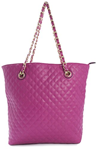 Dama LxAxP 44x34x11 de Acolchado tipo Bolso de Imitación BHBS pink Suave cm Tote en Piel Hombro para hot FZIx55wqO