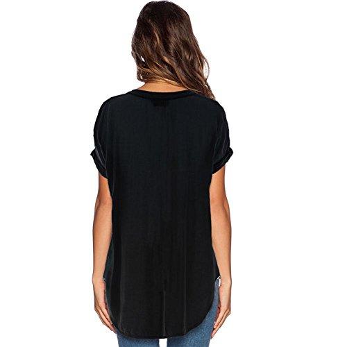 Chiffon Homieco Corta Cime Estate Donne Camicetta Di T Shirt Camicia Scollo Casuali Con Magliette Maniche Nero V Shirt FRqFw0vr