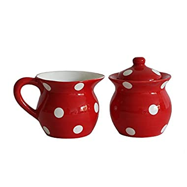 Viva Collection, Red Polka Dot Creamer and Sugar Set, 82132MIX By ACK