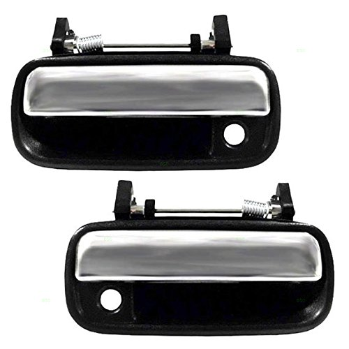 Driver and Passenger Outside Outer Black & Chrome Door Handle Replacement for Toyota Pickup Truck 6922089111 6921089111