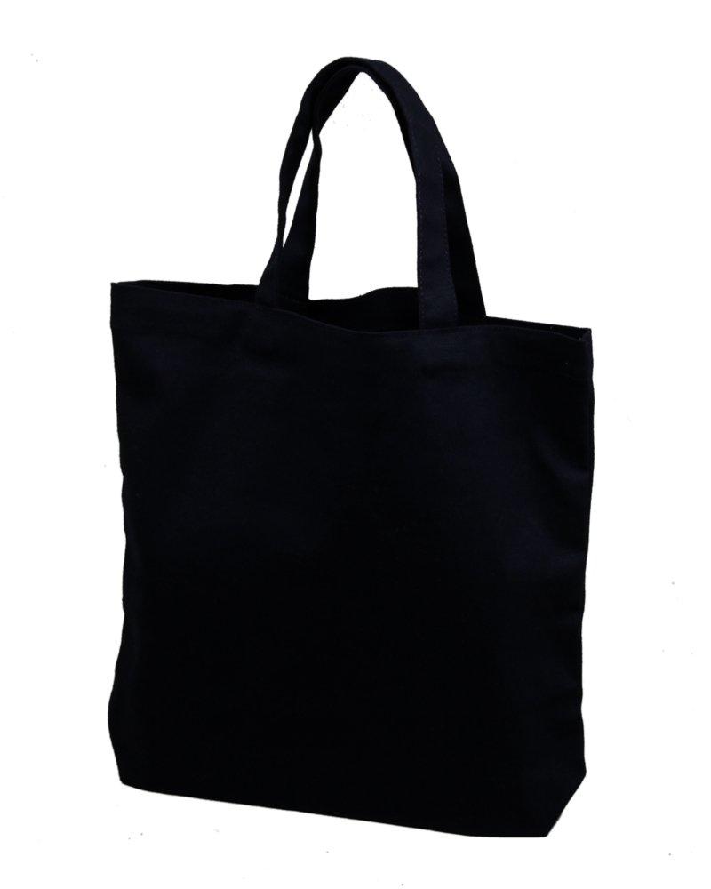 Set of 12 - Medium Tote Bag 14x13x3, Black, 100% Cotton Canvas Bumble Crafts 2516