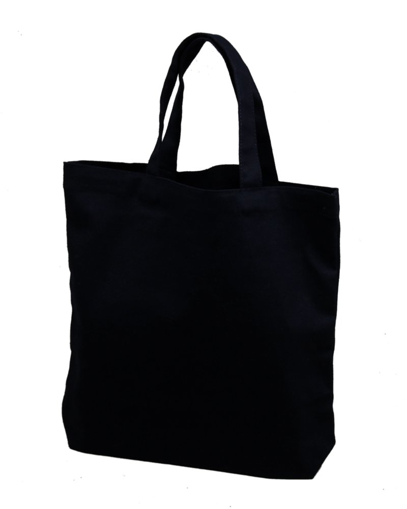 Set of 12 - Medium Tote Bag 14x13x3'', Black, 100% Cotton Canvas by Bumble Crafts (Image #1)