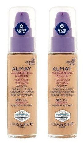 (Almay Cosmetics Age Essentials Makeup Foundation 120 Light Warm SPF 15 (Pack of 2) With Octinoxate, Titanium Dioxide, Dimethicone, Boron Nitride, Pullulan, Tocopherol and Niacin, 1 fl. oz. each)