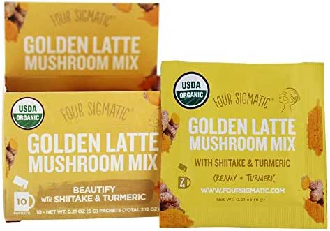 Four Sigmatic Golden Latte with Shiitake Mushroom & Turmeric, Dairy-free, USDA Organic with coconut milk powder - beauty