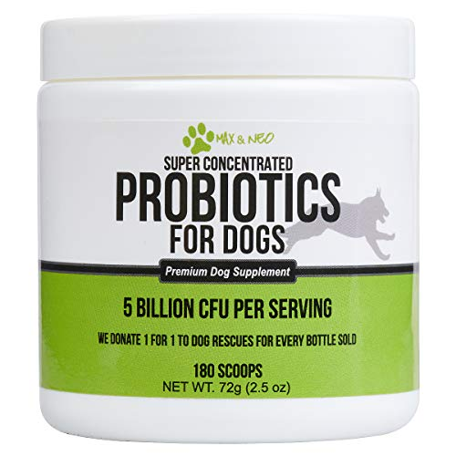 Max and Neo Probiotics for Dogs, 5 Billion CFU per Scoop - 180 Scoops - We Donate a One for One to a Dog Rescue for Every Product Sold