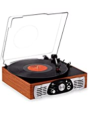 1byone Belt-Drive 3-Speed Stereo Turntable with Built in Speakers, Supports Vinyl to MP3 Recording, USB MP3 Playback and RCA Output, Natural Wood