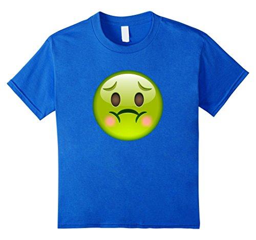 Kids Funny Sick Face Emoji T Shirt 10 Royal Blue