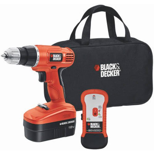 Black & Decker GCO18SFB 18-Volt NiCad 3/8-Inch Cordless Drill/Driver with Storage Bag and Stud Sensor