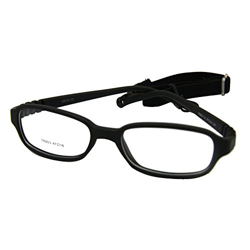 EnzoDate Kids Optical Glasses Frame Size 47-16-120 with Cord, No Screw Bendable (black) (Optical Frames Unisex)