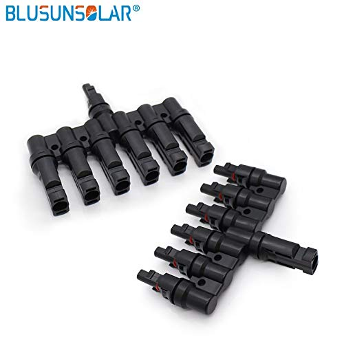 Gimax Blusunsolar 1 Pair MC4 6 to 1 T Branch parallel connect Electrical Solar 60A 1000V MC4 Connector Y Panel Cable Wire Connection