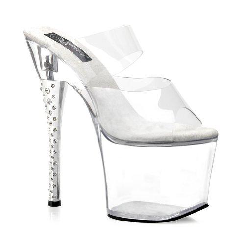 (Summitfashions 7 Inch Heel Stripper Shoes Clear Rhinestone Heel Slide Size:)