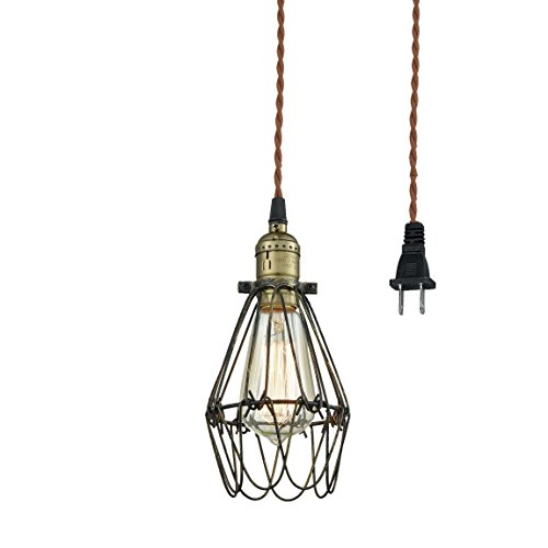 CLAXY Ecopower Industrial Opening And Closing Plug In Pendant Lighting Wire  Cage Lamp Guard Fixture