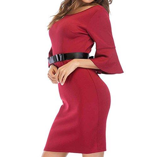 Providethebest Las Mujeres de la Llamarada de la Manga Vestido con cinturón de Cadera Vestido de la Cremallera cinturón Ajustado de Paquete sólidorojo XL poliéster