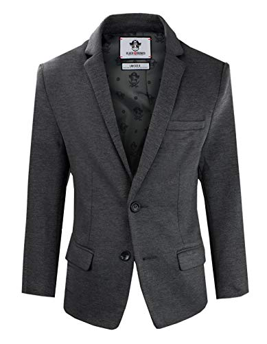 Black n Bianco Boys' Twill Blazer Jacket Formal or Casual Presented by Captin Baby Milan (7, Dark Gray Charcoal)