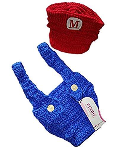 Super Mario Baby Costume (Pinbo Newborn Baby Photography Prop Crochet Games Mario Hat)