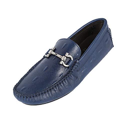 WLFHM Uomo Abbigliamento Formale Business Casual Scarpe da Uomo Scarpe con Piselli Blue