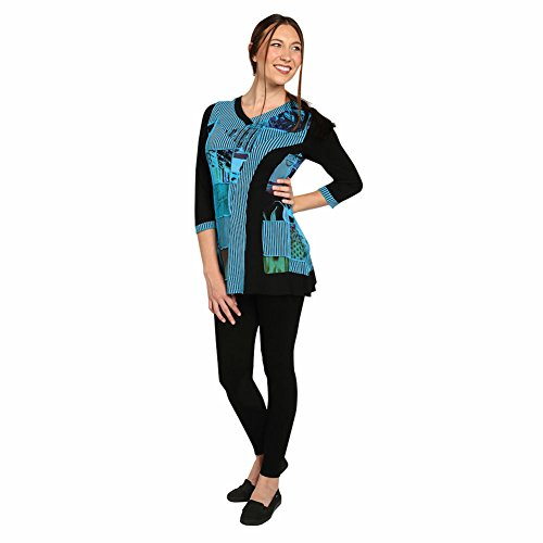 Women's Tunic Top - Colorblock Blue And Black Patchwork Shirt - 2X
