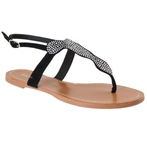 Microsuede Bamboo Womens Bamboo Detail Sparkling Black Sandals Morris Womens HwSYE57qq