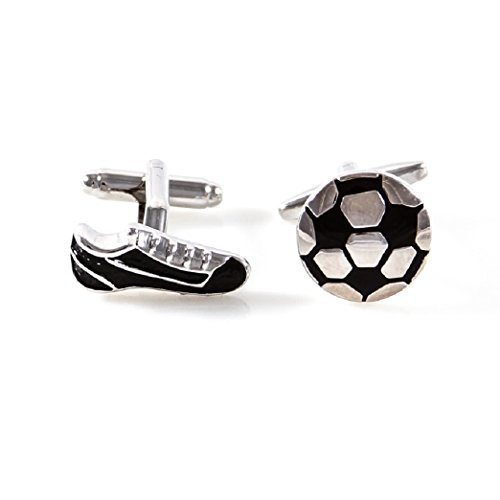 MRCUFF Soccer Ball and Cleats Shoe Pair Cufflinks in a Presentation Gift Box & Polishing Cloth from MRCUFF