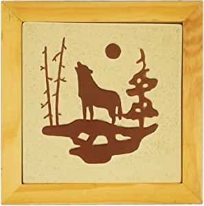 Wolf Stoneware Counter Or Table Hot Plate Dish Pot Holder With Natural Colors 7.5""