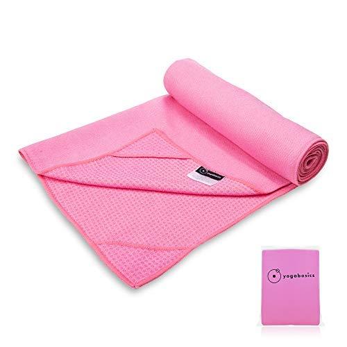Yogabasics Handtuch für Yogamatte, rutschfest durch Silikonpunkte und Ecktaschen, 183cm x 63cm, Geeignet für Hot Yoga, Extrem Schweiß absorbierend, Premium Mikrofaser Qualität, Pink Yogabasics Ltd