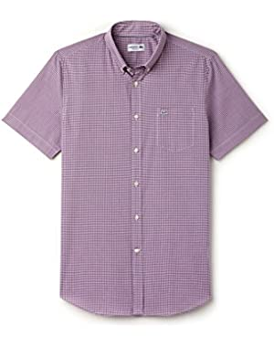 Men's Purple Gingham Checked Men's Short Sleeve Shirt in Size 42-L Purple