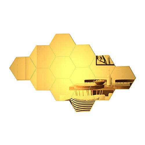 Atfunshop Hexagon Mirror Wall Stickers 12 Pcs 5inch Removable Acrylic Gold Mirror Wall Decor Diy Modern Decoration Buy Online In Aruba Missing Category Value Products In Aruba See