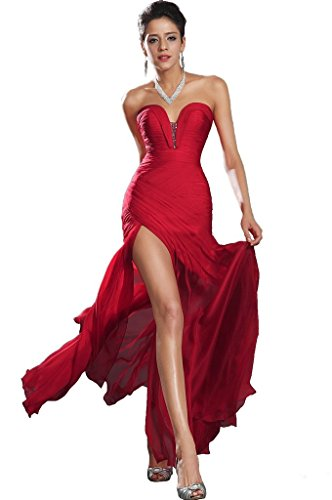 Snowskite Women's Sexy Sweetheart Chiffon Long Evening Formal Party Dress Red 8 Chiffon Sweetheart Neckline Column