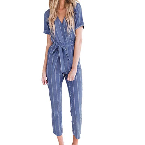 Womens Elegant Short Sleeve Deep V-Neck Jumpsuit Rompers Striped High Rise Baggy Cropped Pants Lightweight Breathable Summer Lounge Playsuit with - Velour Cotton Belt