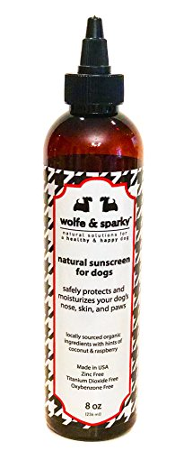 Wolfe & Sparky New!! Protect Your Dog from Harmful Sun Damage s Natural & Organic Dog Sunscreen! Zinc & Titanium Dioxide Free! (8 oz)