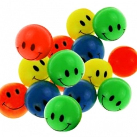 100 Smiley Flummis 45mm Lachgesicht Gummiball Springball