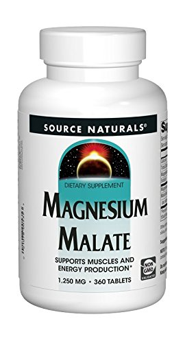Source Naturals Magnesium Malate 1250mg, Supports Muscles and Energy Production,360 - Vitamins Magnesium Malic Acid