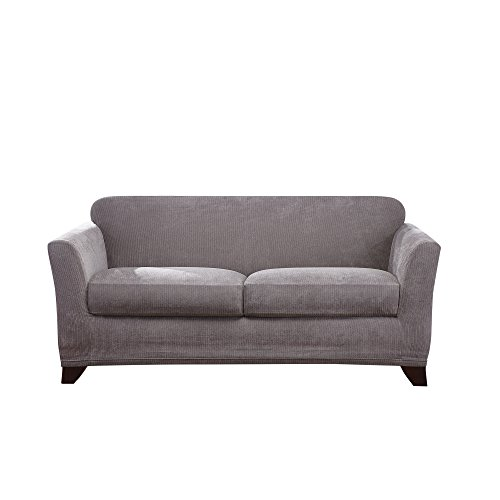Sure Fit Ultimate Stretch Chenille Box Cushion Loveseat Slipcover - Grey (SF45888) ()