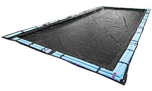 (Buffalo Blizzard Deluxe Winter Cover for 16-ft x 32-ft Rectangle In-Ground or Above Ground Swimming Pools | Blue/Black Reversible | 5-Foot Additional Material)