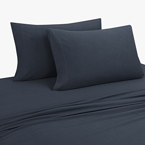 DELANNA Jersey Knit Sheet Set Soft Breathable T-Shirt Weave (Navy