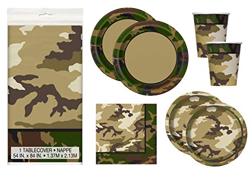 Camo Birthday Party Supplies Set - Tablecover, Plates, Cups, Napkins in Camouflage Print (Deluxe - Serves 16)