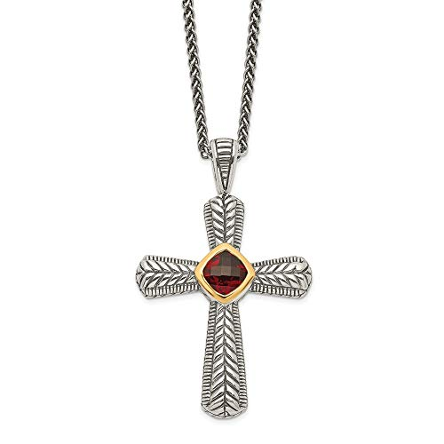 (Sterling Silver Gold Two-Tone Garnet Cross Pendant Necklace 18.00mm)