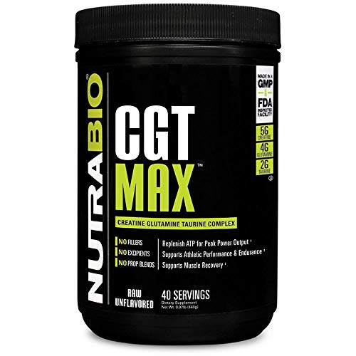 - NutraBio CGT-MAX (Unflavored) - Creatine, Glutamine, and Taurine Powder