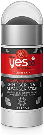 Yes To Tomatoes Detoxifying Charcoal 2 in 1 Face Scrub and Facial Cleanser Stick, 2.5 Ounce
