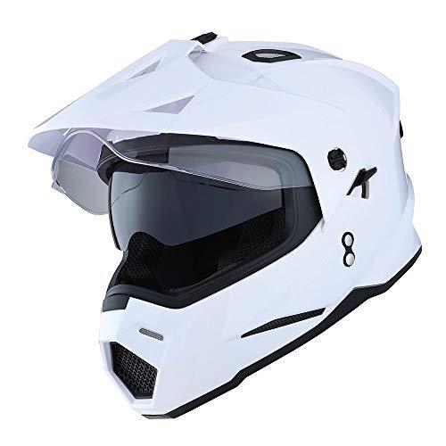 1Storm Dual Sport Motorcycle Motocross Off Road Full Face Helmet Dual Visor Glossy White, Size - Dual Visor Helmet