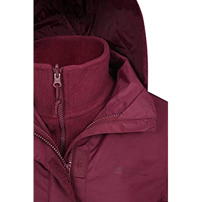 Mountain Warehouse Fell Womens 3 in 1 Jacket -Water Resistant Rain Jacket, Adjustable Hood Ladies Winter Triclimate… 4