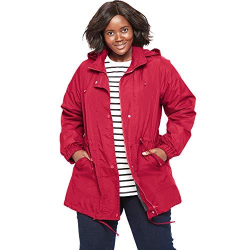 (Woman Within Women's Plus Size Fleece-Lined Taslon Anorak - Classic Red, 1X)