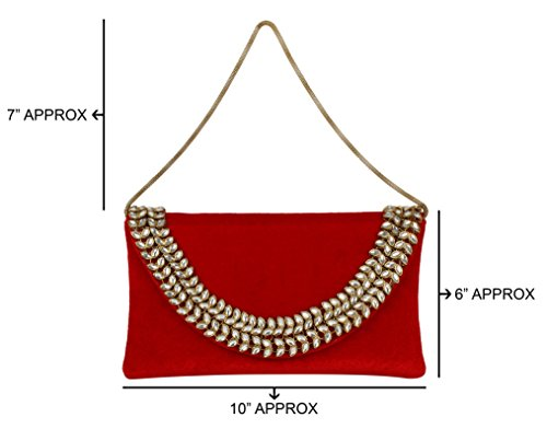 Discount Stone } Clutch Collection Beautiful { 10 Kundan Red Extra Bridal With Purse fqxHZ76