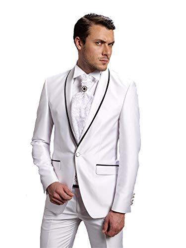 MYS Men's Custom Made Groomsman Shawl Satin Lapel Tuxedo Suit Pants Set White Size 40R ()
