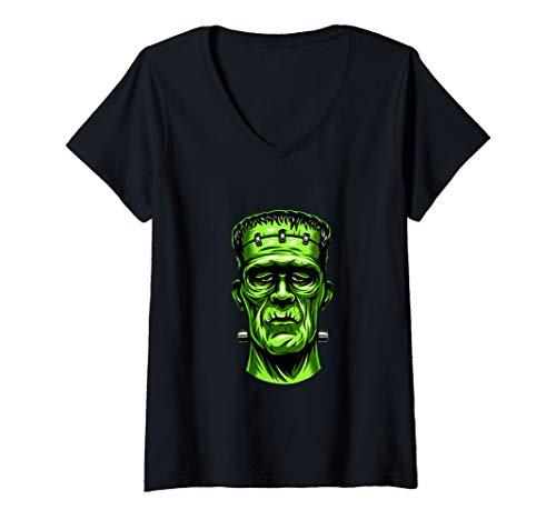 Womens Classic Monster Shirt Frankenstein Halloween gift V-Neck T-Shirt -