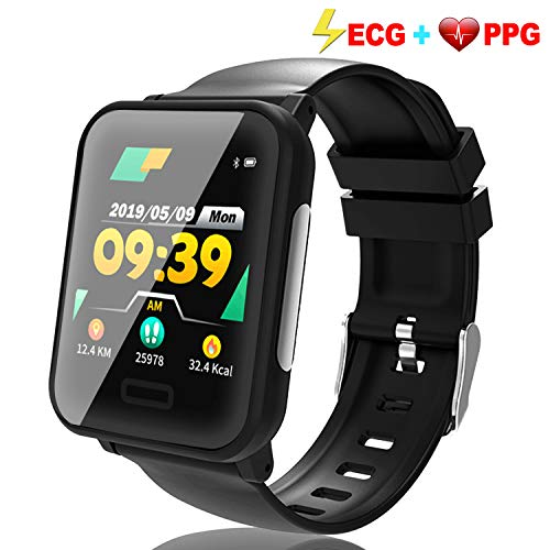 (Fitness Tracker ECG&PPG, Waterproof Activity Tracker Watch with Heart Rate Blood Pressure&Oxygen Sleep Monitor, Pedometer, Calorie, Multiple Sports Modes Custom Dial HD Touch TPU Prime Travel Gifts)