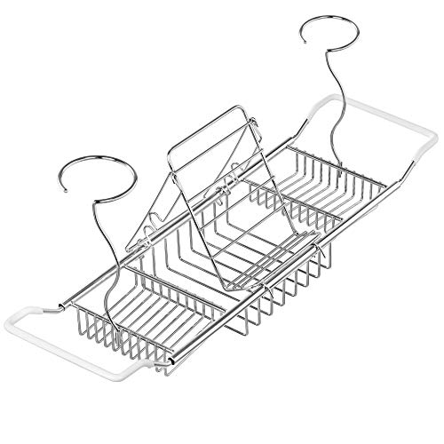 iPEGTOP 304 Stainless Steel Bathtub Caddy Tray Rack Expandable Bath Organizer, Tub Shelf for Reading with Book and Wine - Tub Caddy Bath Expandable
