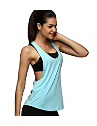 Women Racerback Loose Yoga Running Tank Top Fitness Seeveless T-Shirt Blouse