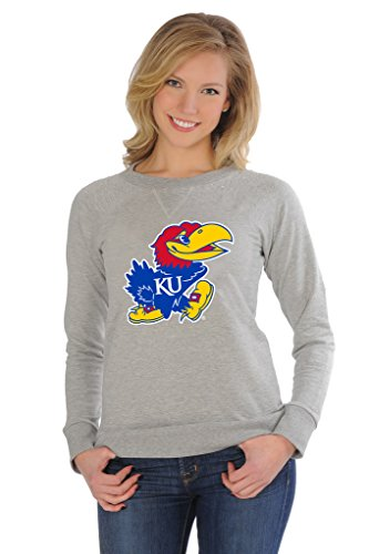 UG Apparel NCAA Kansas Jayhawks Women's Rhinestone Fleece Pullover, Small, Grey