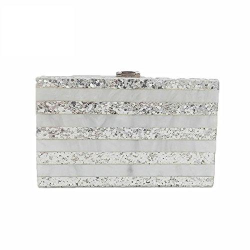 Dinner Prom Handbag Women Bag for Evening New Acrylic Clutch Striped Fashion Shoulder Wedding Bag Bag Slive Evening qggXpw7B